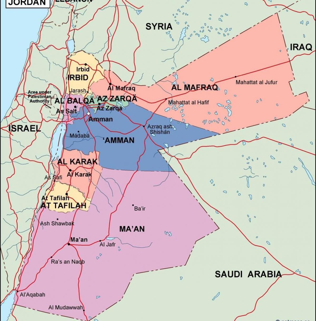 La Jordanie Politique Carte Carte De La Jordanie Politique